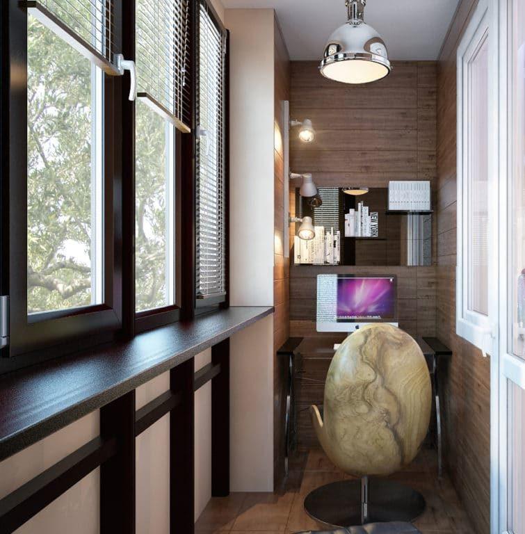 Отделка балкона может включать дизайн-проект, утепление, остекление и все виды черновой и чистовой отделки