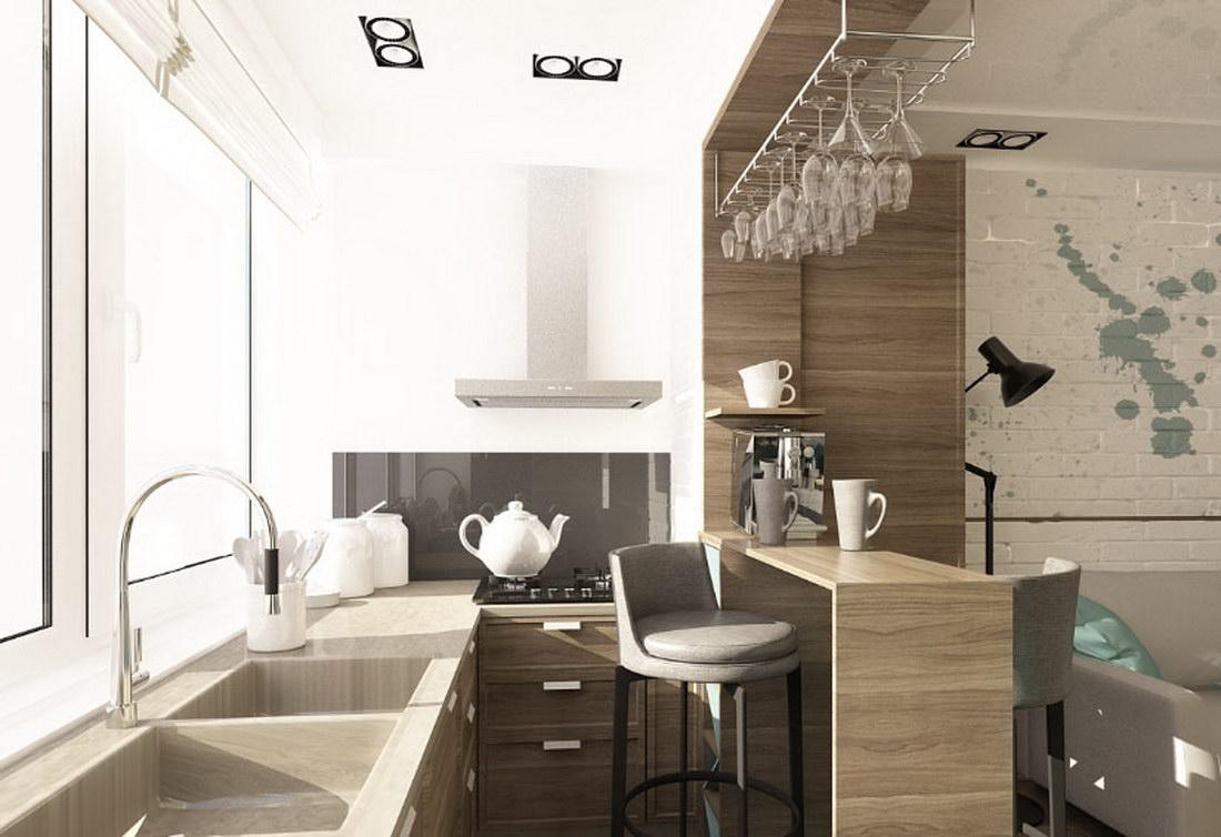 Объединение лоджии с кухней включает демонтаж старых конструкций, стены, утепление и остекление.